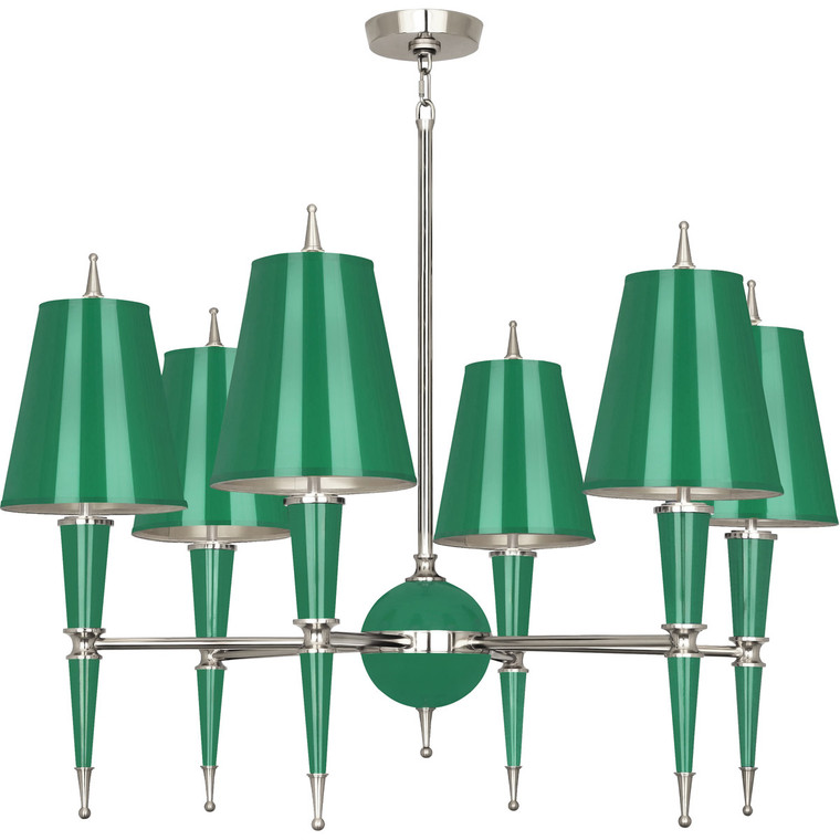 Robert Abbey Jonathan Adler Versailles Chandelier in Emerald Lacquered Paint with Polished Nickel Accents G604