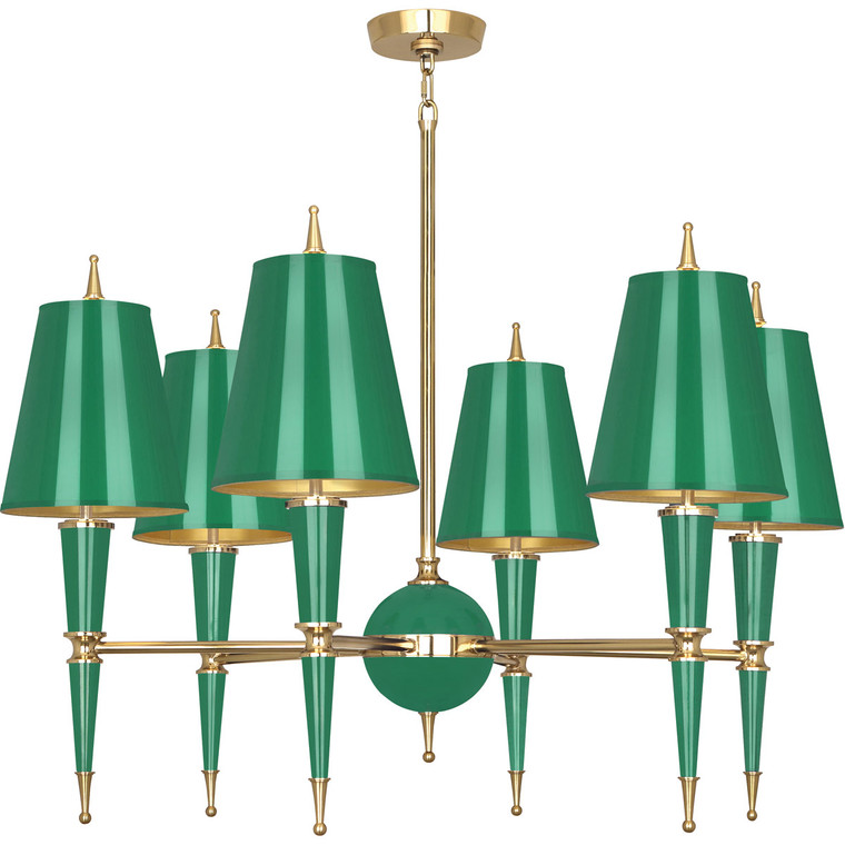 Robert Abbey Jonathan Adler Versailles Chandelier in Emerald Lacquered Paint with Modern Brass Accents G904