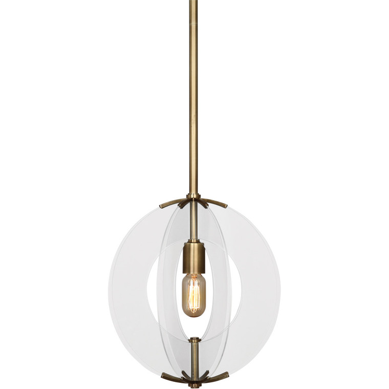 Robert Abbey Latitude Pendant in Aged Brass Finish with Clear Glass Accents 3373