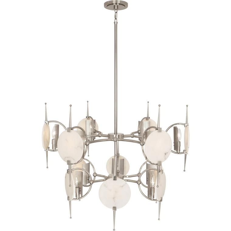 Robert Abbey Jace Chandelier in Polished Nickel Finish with Polished Faux Alabaster Diffusers S528