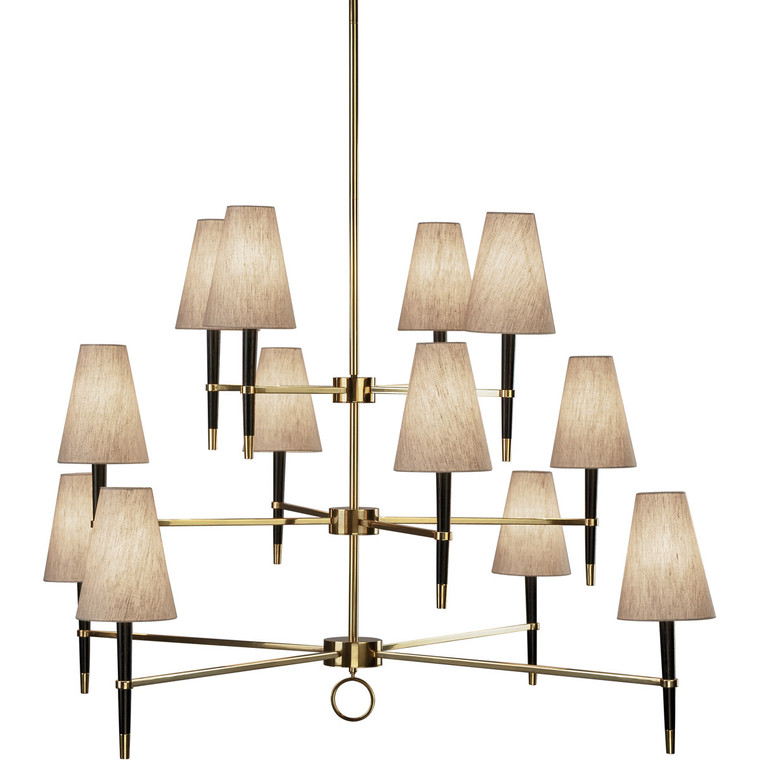 Robert Abbey Jonathan Adler Ventana Chandelier in Ebony Finished Wood with Antique Brass Finished Accents 674