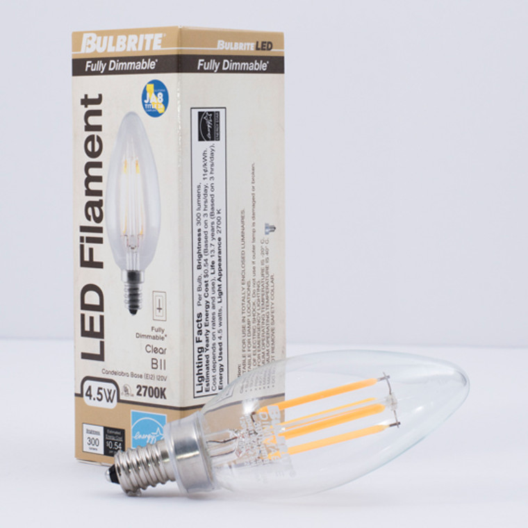 Bulbrite: 776677 LED Filaments: Fully Compatible Dimming, Clear Watts: 4.5 - LED4B11/27K/FIL/E12/2/JA8 (10 Pack)