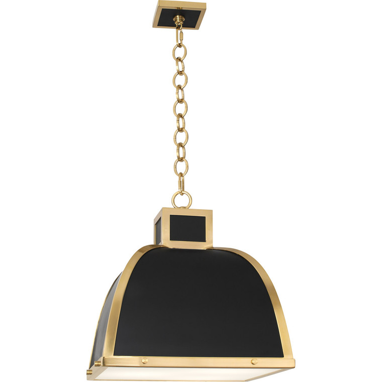 Robert Abbey Ranger Pendant in Matte Black Painted Finish with Modern Brass Accents 1444