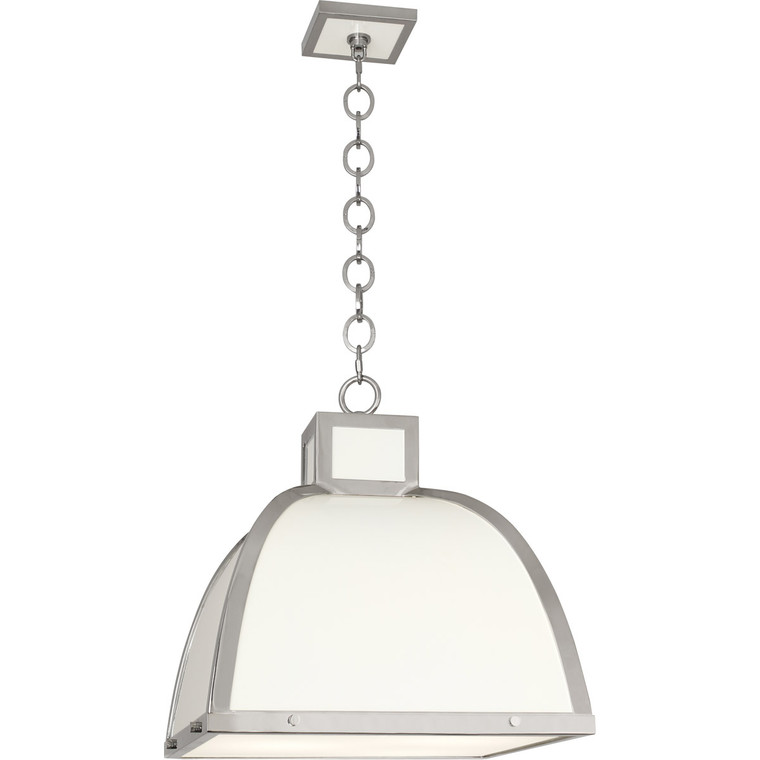 Robert Abbey Ranger Pendant in Glossy White Painted Finish with Polished Nickel Accents 1447