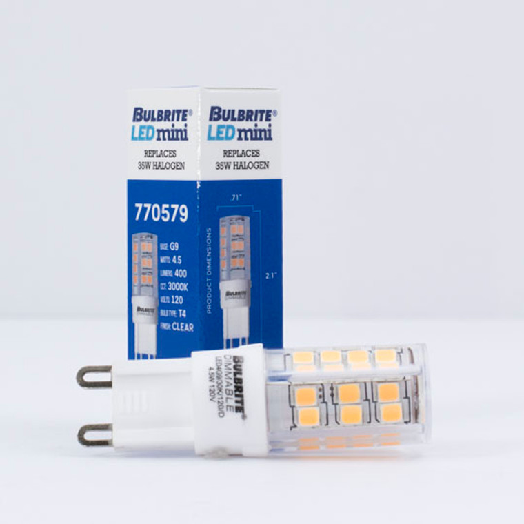 Bulbrite: 770579 LED Specialty Minis 12V/120V: GY6, G8, G9 Watts: 4.5 - LED4G9/30K/120/D (5 Pack)