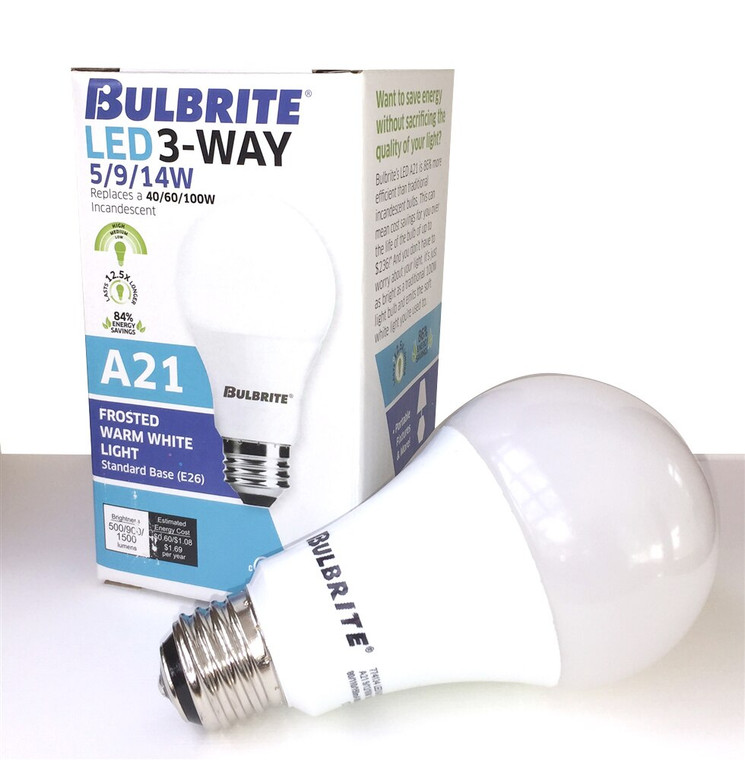 Bulbrite: 774134-1 LED A-Type 3-Way: A21 Watts: 41768 - LED14A21/827/3WAY/2 (1 Pack)