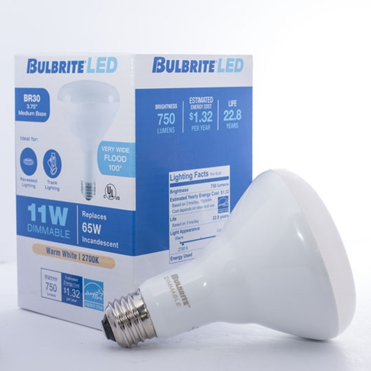 Bulbrite: 773355-1 LED Reflectors Warm White Dimmable: R20, BR30, BR40 LED11BR30/827/D/2 (Pack of One)