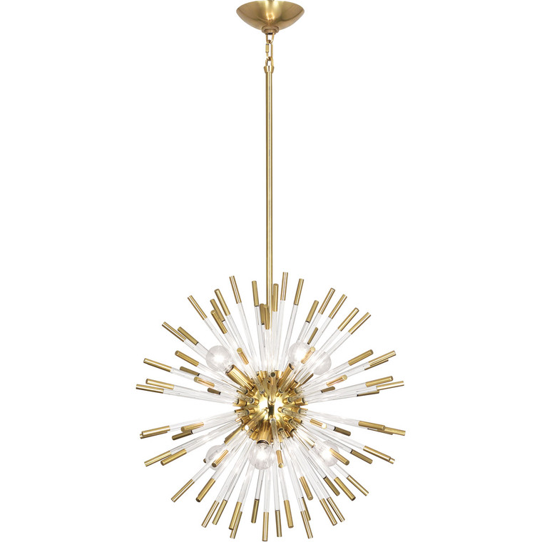 Robert Abbey Andromeda Pendant in Modern Brass Finish with Clear Acrylic Rods 165