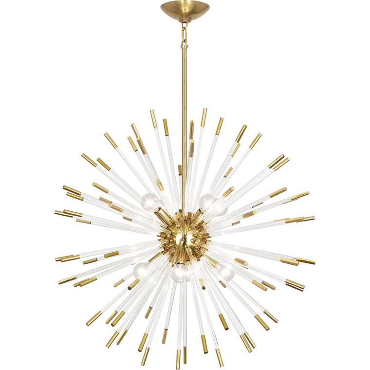Robert Abbey Andromeda Chandelier in Modern Brass Finish with Clear Acrylic Rods 166