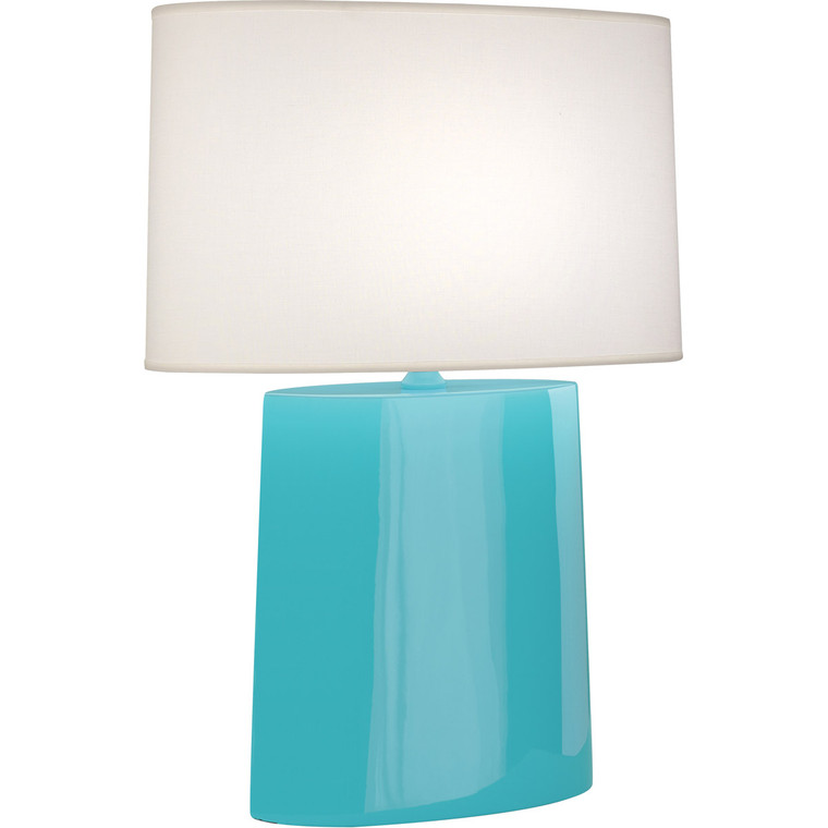 Robert Abbey Egg Blue Victor Table Lamp in Egg Blue Glazed Ceramic