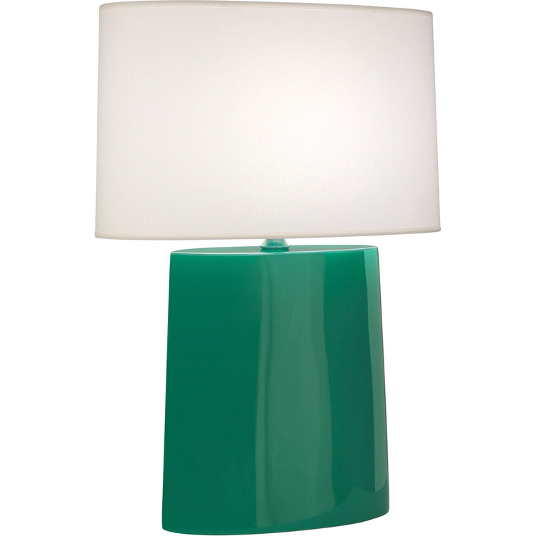 Robert Abbey Emerald Victor Table Lamp in Emerald Glazed Ceramic