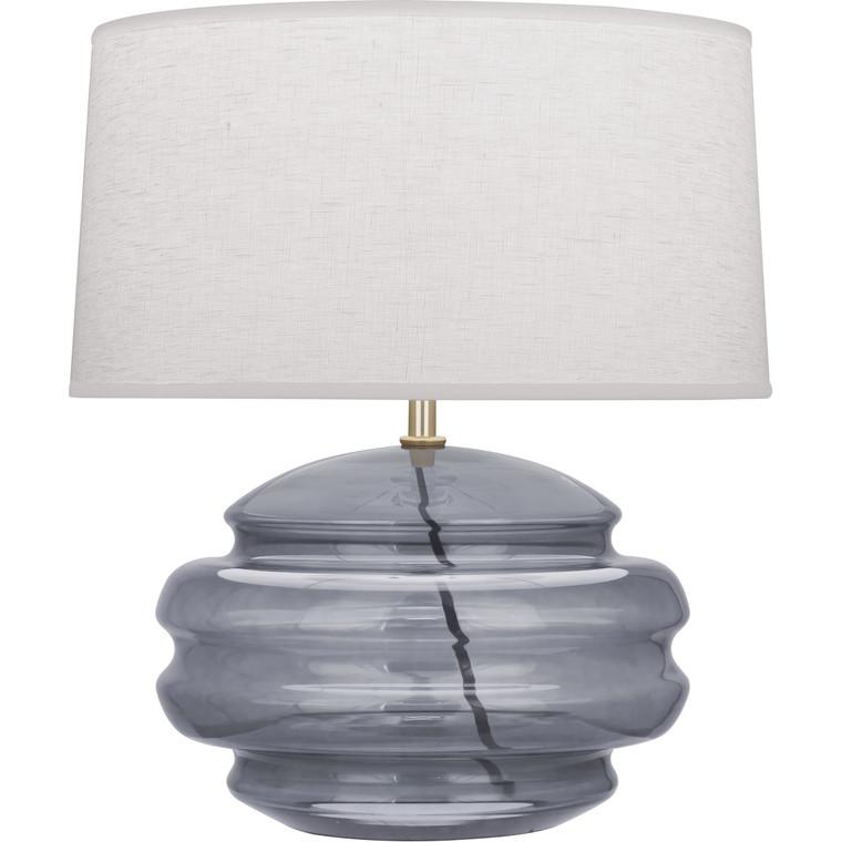 Robert Abbey Horizon Accent Lamp in Modern Brass Finish with Smoke Gray Glass