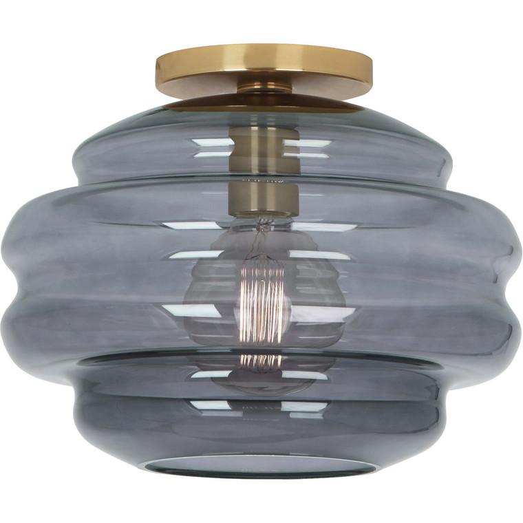 Robert Abbey Horizon Flushmount in Modern Brass Finish with Smoke Gray Glass