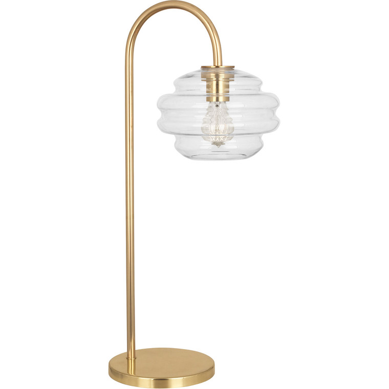 Robert Abbey Horizon Table Lamp in Modern Brass Finish with Clear Glass