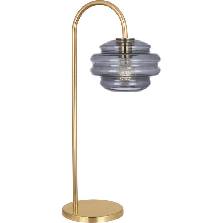 Robert Abbey Horizon Table Lamp in Modern Brass Finish with Smoke Gray Glass