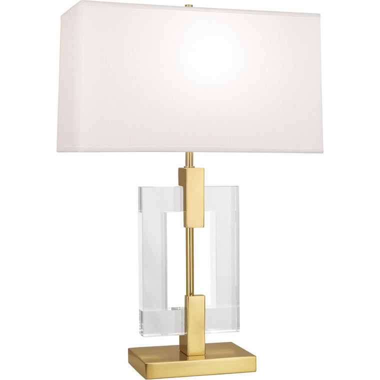 Robert Abbey Lincoln Table Lamp in Modern Brass Finish with Crystal Accents