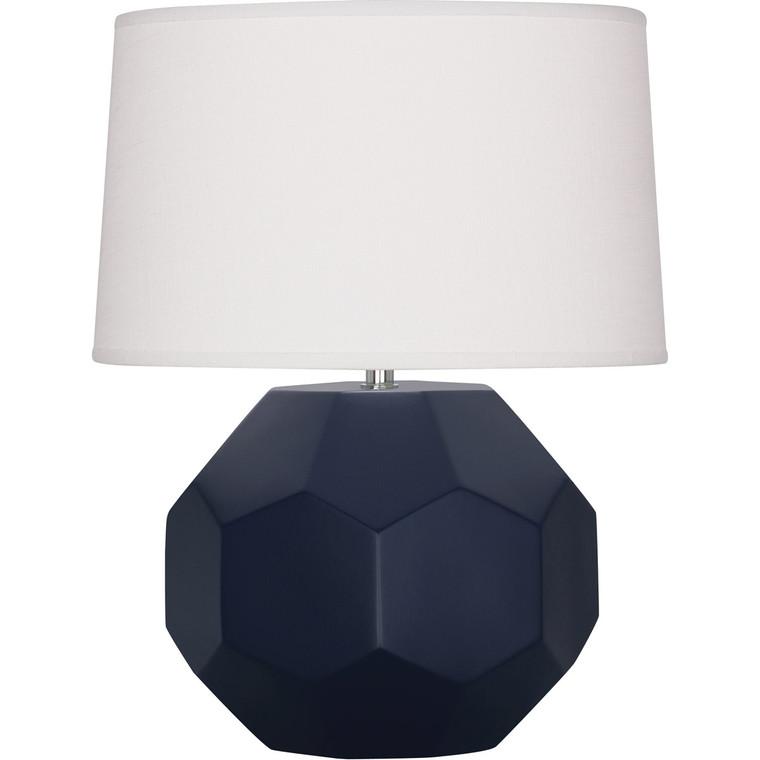 Robert Abbey Matte Midnight Blue Franklin Table Lamp in Matte Midnight Blue Glazed Ceramic