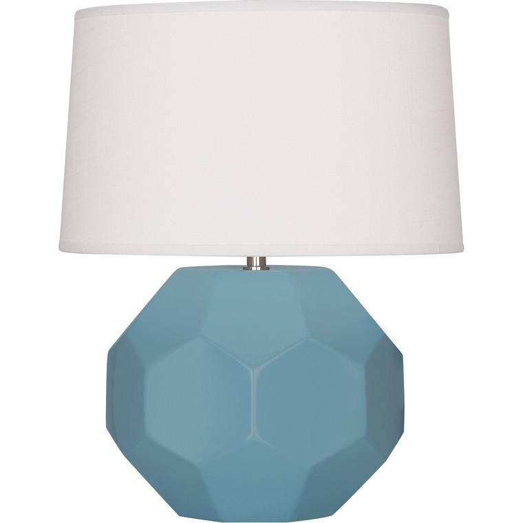 Robert Abbey Matte Steel Blue Franklin Accent Lamp in Matte Steel Blue Glazed Ceramic