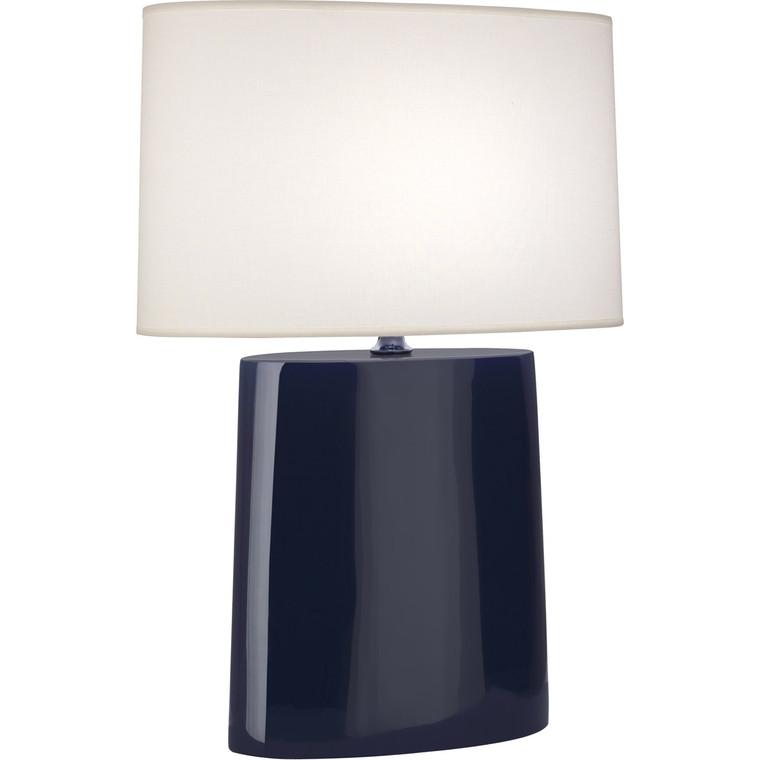Robert Abbey Midnight Victor Table Lamp in Midnight Blue Glazed Ceramic