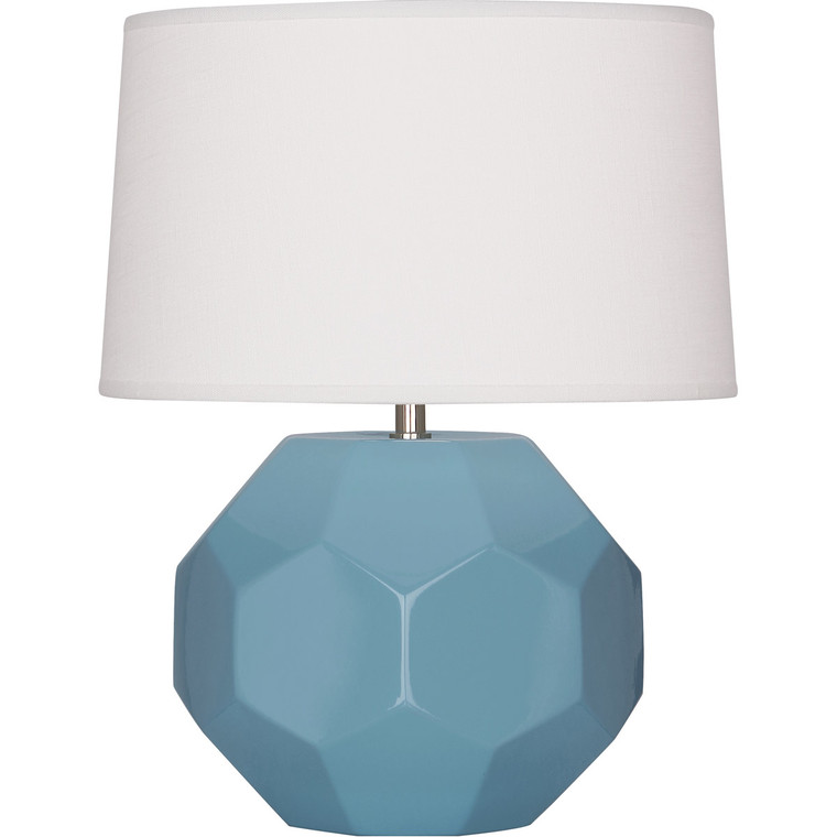Robert Abbey Steel Blue Franklin Accent Lamp in Steel Blue Glazed Ceramic