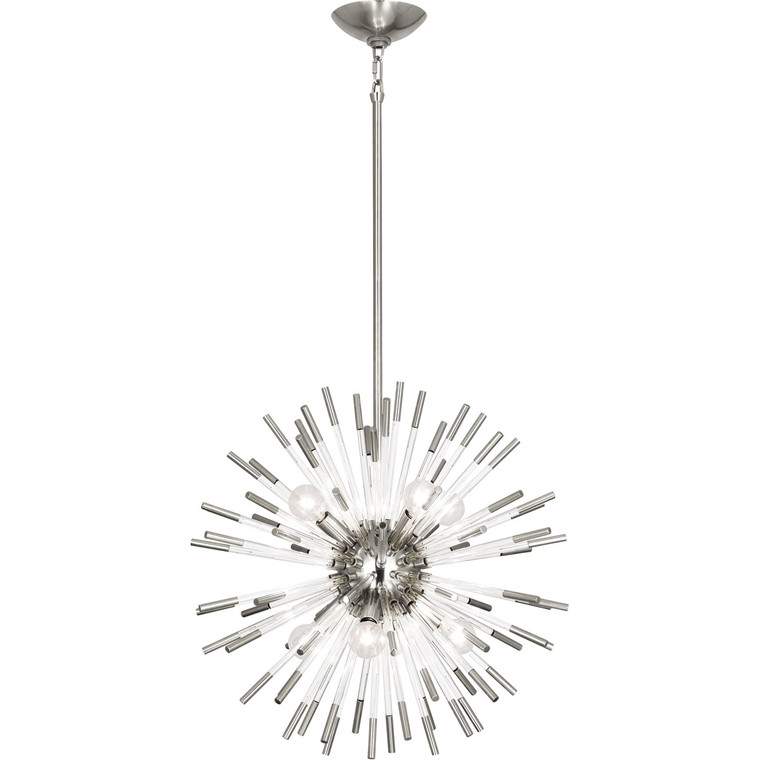 Robert Abbey Andromeda Pendant in Polished Nickel Finish with Clear Acrylic Rods S165