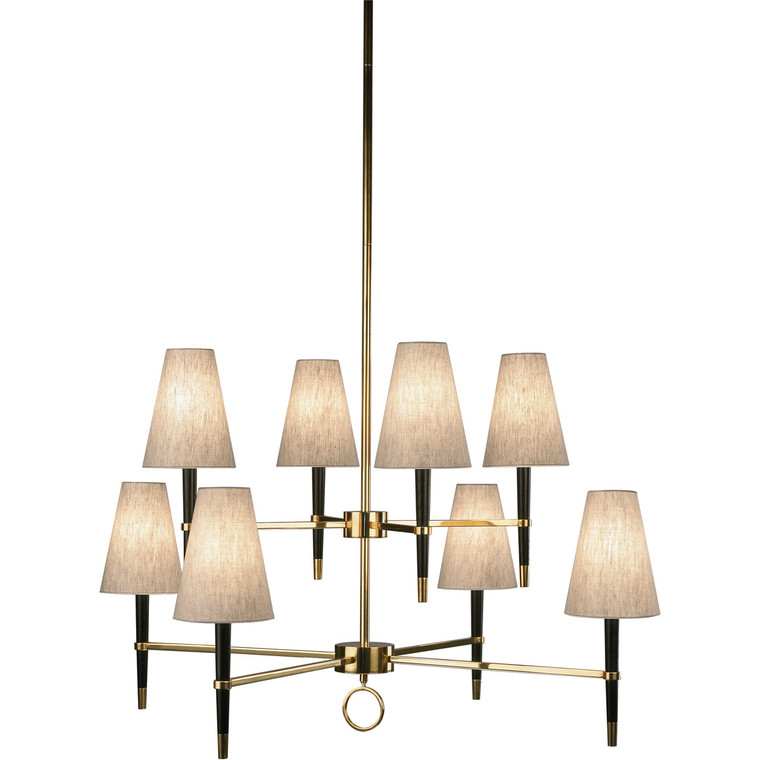 Robert Abbey Jonathan Adler Ventana Chandelier in Ebony Finished Wood with Antique Brass Finished Accents 673