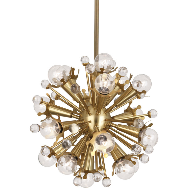 Robert Abbey Jonathan Adler Sputnik Pendant in Antique Brass with Crystal Accents 713