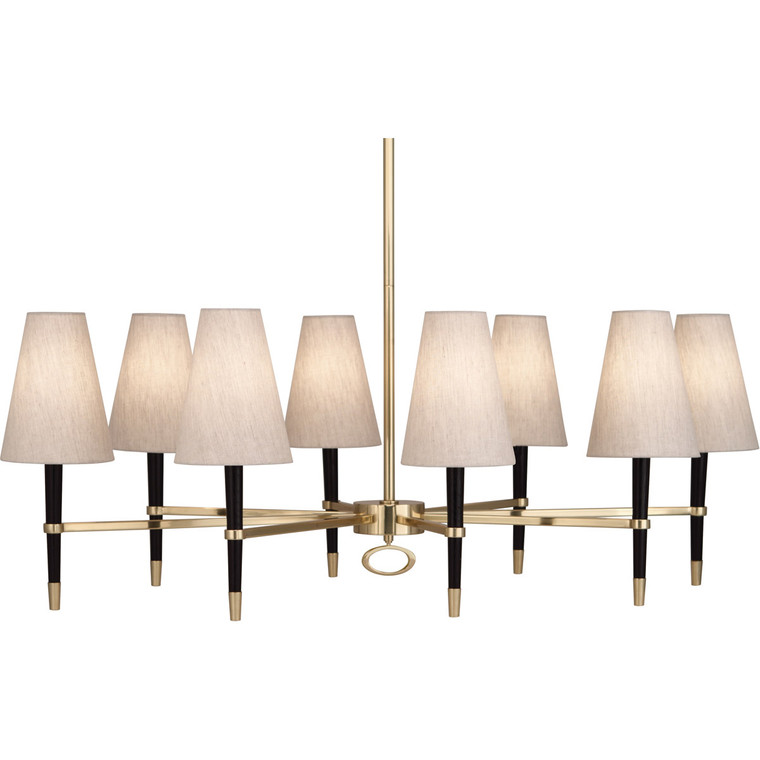 Robert Abbey Jonathan Adler Ventana Chandelier in Ebony Finished Wood with Antique Brass Finished Accents 718