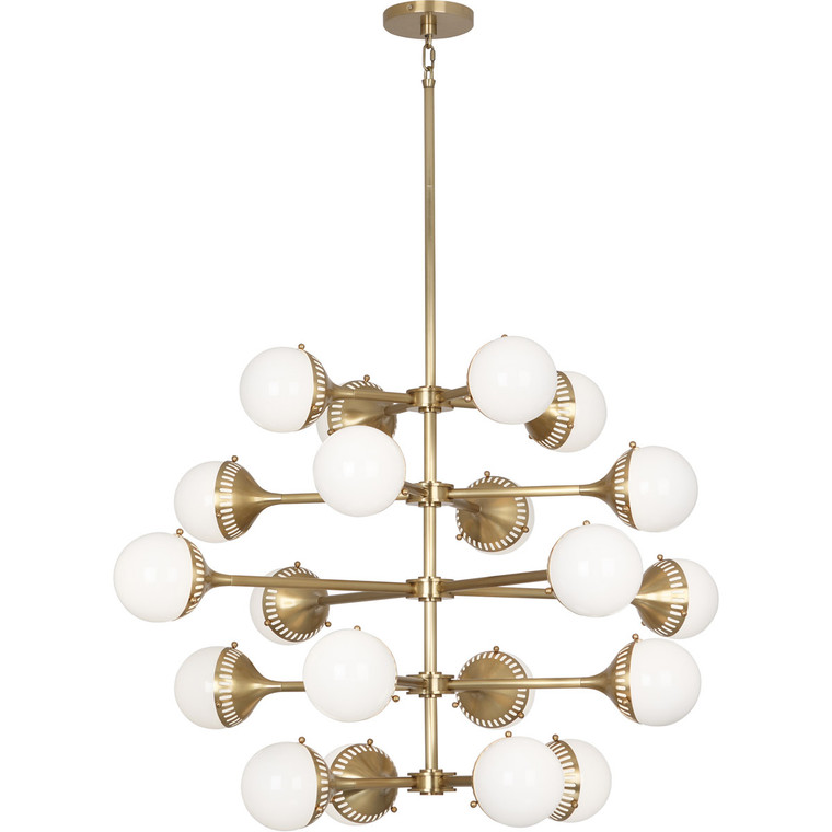 Robert Abbey Jonathan Adler Rio Chandelier in Antique Brass Finish with White Glass Shades 789