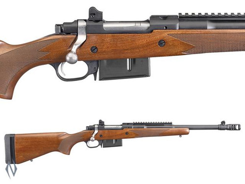 RUGER 77 GUNSITE SCOUT BLUE WALNUT 450 BUSHMASTER 16 5 INCH BRAKE - SKU:  77GS450B