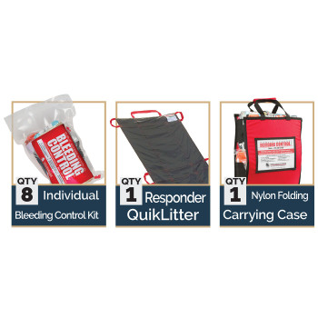 Public Access Bleeding Control 8-Pack w/ C-A-T Tourniquet -  Vacuum Sealed Kits