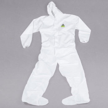 White Disposable Microporous Coveralls with Hood/Boot - Case of 25