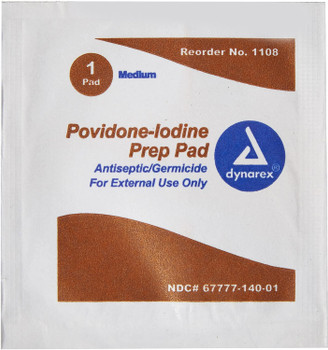 Dynarex Povidone-Iodine Prep Pad - Medium - 1108