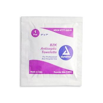 """Dynarex BZK Antiseptic Towelettes Sanitizing Wipes 5""""x7"""" 1303"""