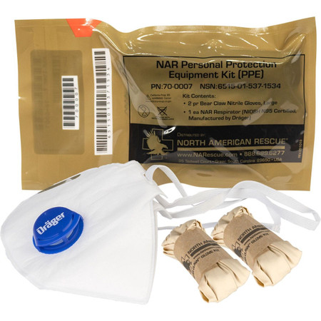 PPE Kit w/ N95 Mask & Gloves by North American Rescue 70-0007
