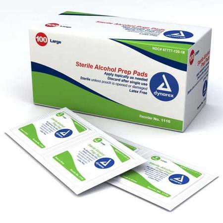 Dynarex Sealed Alcohol Sterile Prep Pads Large - 1116