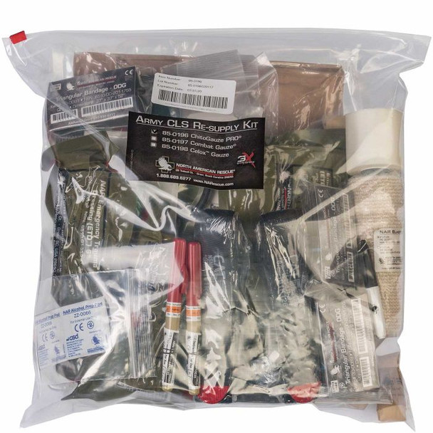Army CLS w/ Chito Pro Gauze 85-0196 $399.95 w/ QuikClot Combat Gauze 85-0197 $429.95