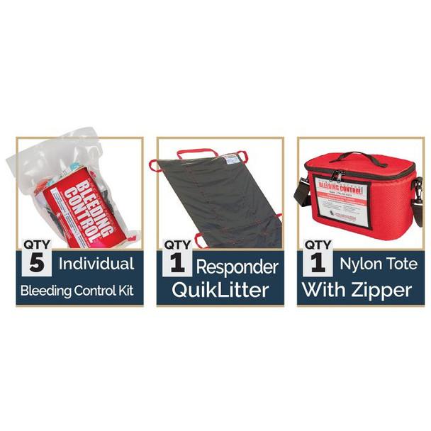 Public Access Bleeding Control 5-Pack w/ C-A-T Tourniquet -  Vacuum Sealed