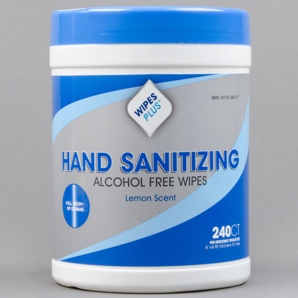 WipesPlus Lemon Scent Alcohol Free Hand Sanitizing Wipes - 240 Wipe Canister