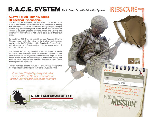 R.A.C.E Rapid (Rapid Access Casualty Extration) System w/  150 ft. Pegasus 9.5mm Olympus Rope 90-0077