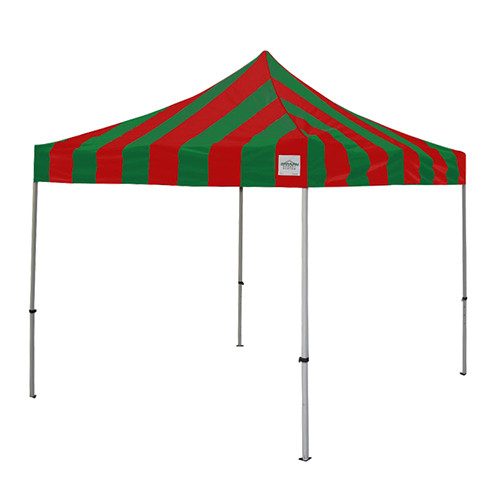 Green and Red Pop Up Tents 10' x 10'