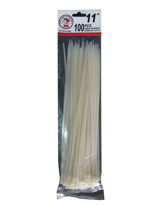 "11"" Cable Tie White 100PC"