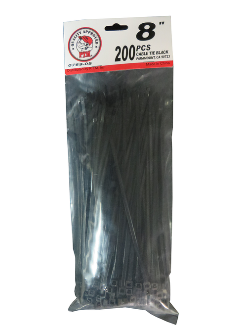 "8"" Cable Tie Black 200PC"