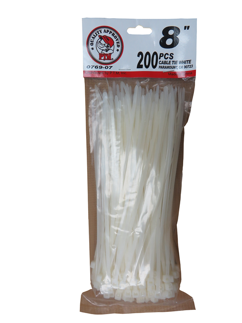 "8"" Cable Tie White 200PC"