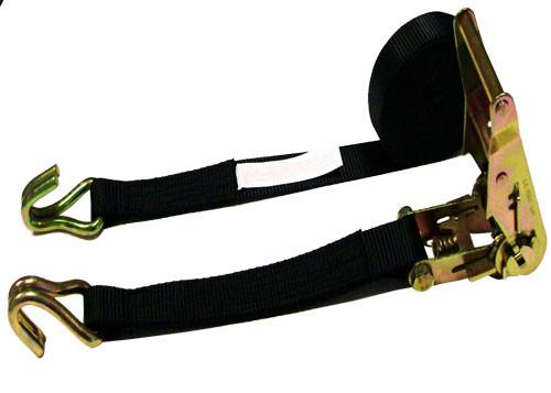 "1-1/2"" x 20' Black Ratchet Strap w/ Double Hooks (2 PCS)"