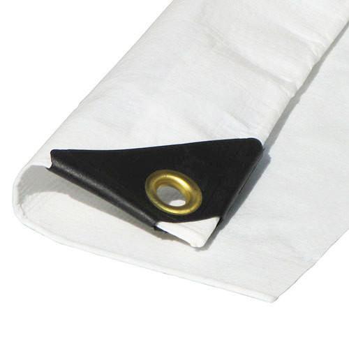 """7' x 14' Heavy Duty Premium White Poly Tarp (Actual Size 6'6""""x13'6"""")"""