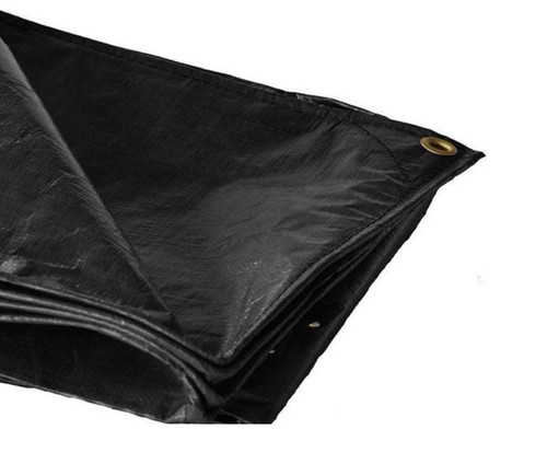 "10' X 20' Super Heavy Duty Black Tarp (Actual Size 9'6"" X 19'6"")"