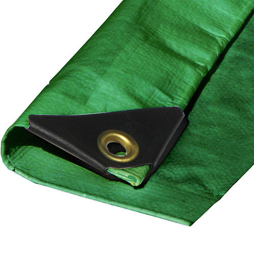 "10' X 10' Heavy Duty Green Poly Tarp (Actual Size 9'6"" X 9'6"")"