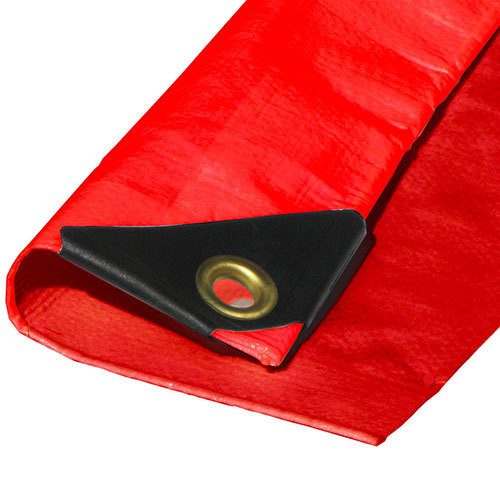 "10' X 10' Heavy Duty Red Poly Tarp (Actual Size 9'6"" X 9'6"")"
