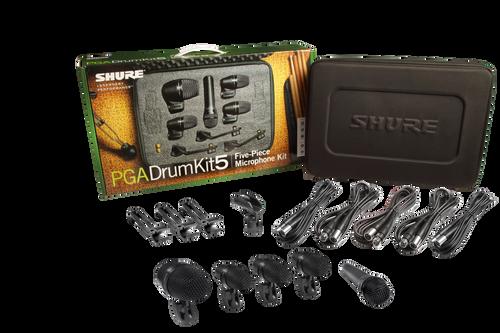5-piece drum mic kit including 1-PGA52, 3-PGA56, 1-PGA57, 1-A25D stand adapter, 3-AP56DM drum mounts, 5 XLR-XLR cables, case